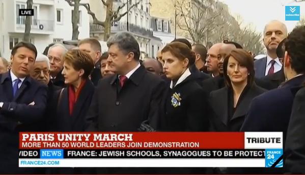 President Poroshenko on the Unity March in Paris JeSuisCharlie