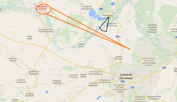 Trokhizbenka was hit by many Grad missiles this evening, seen flying by and impacting by residents in Shchastya.