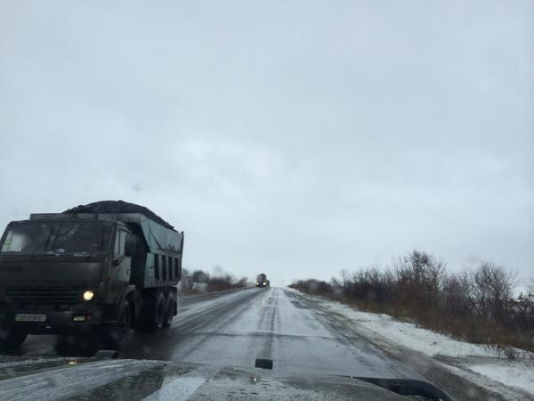Trucks with coal go to Ukraine from Donbass