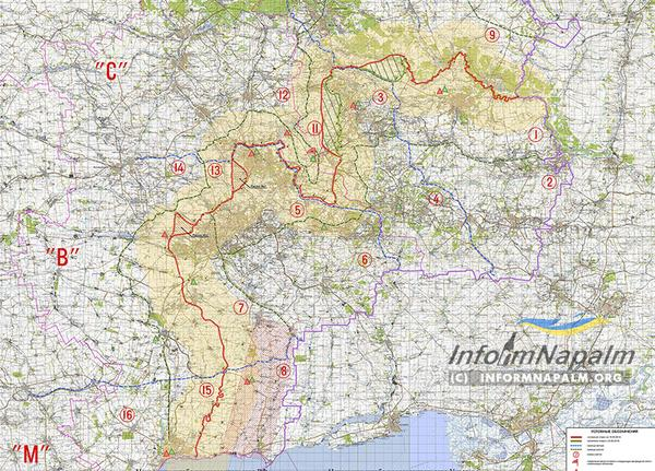 Ukrainian journalists published map of the separation line in the Donbass
