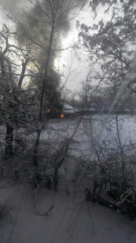 Donetsk. Burning car