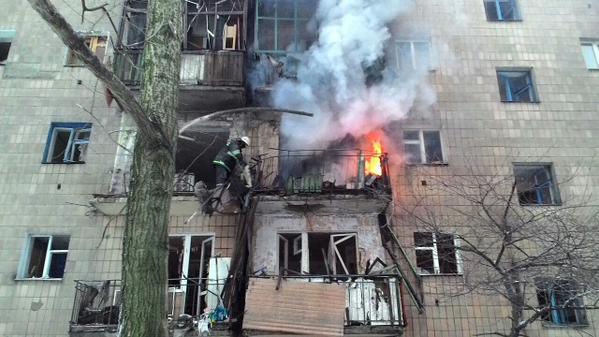 Shells hit Chapaeva street in Donetsk