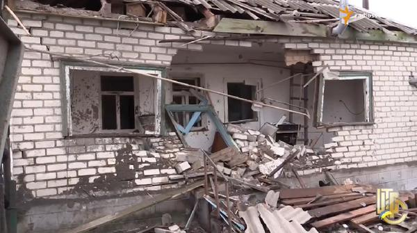 Stanytsia Luhanska after a reinforced fire of MLRS Grad