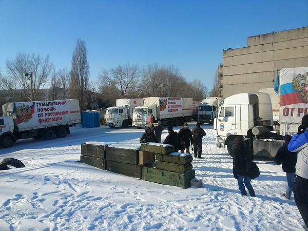 Boxes from Supply convoy in Makiivka on 11 January