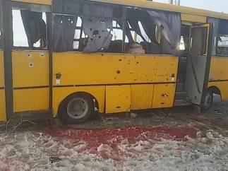 Bus shelled by militants near Volnovaha. 10 civilians were killed