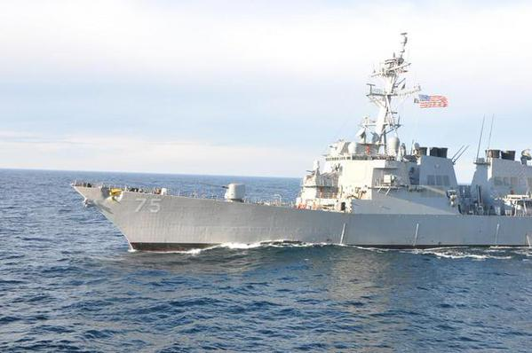 Ukrainian Navy flagman held exercise in the Black Sea with the U.S. destroyer 'Donald Cook'