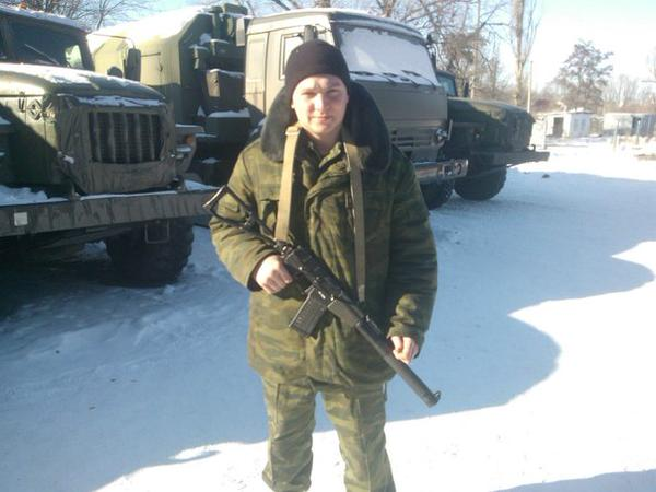 Militants fighter with Val rifle presumably in Luhansk region