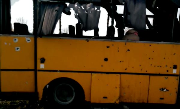 OSCE on Volnovakha bus - The bus had shrapnel damage consistent with a nearby rocket impact
