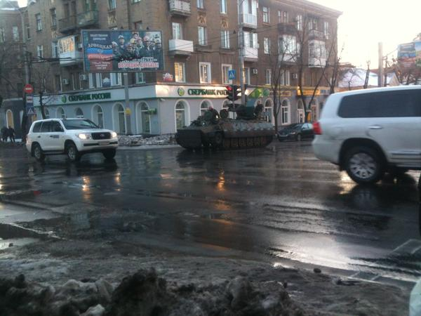 OSCE and heavy military vehicle in Donetsk