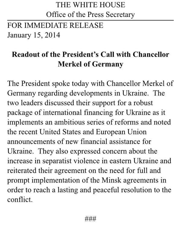 Obama speaks with Merkel on Ukraine