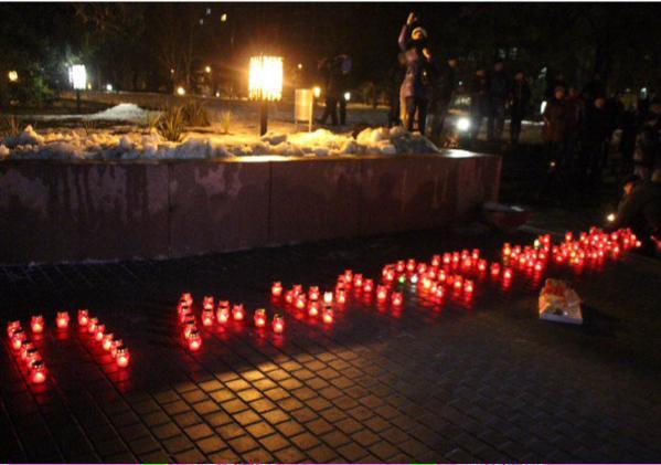 Vigil in memory of killed in Mykolaiv today