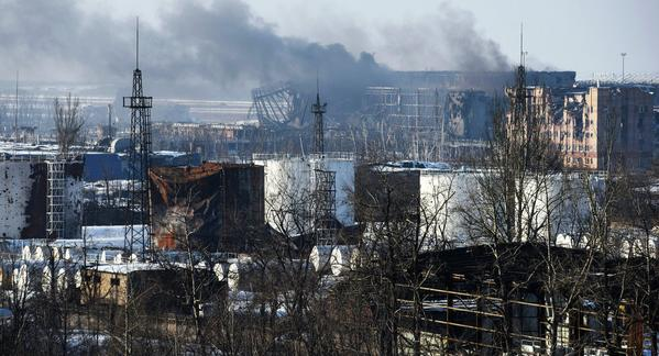 Image of Donetsk Airport this morning smouldering &; burning.Still being shelled by Putin troops.Ukraine Russia