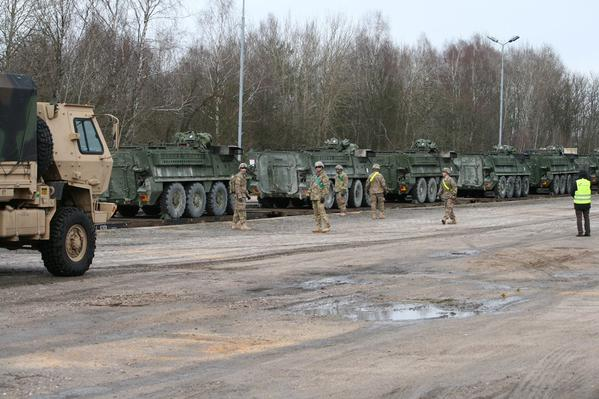 .@2dCavalryRegt Strykers are in Drawsko Poland to train with PL troops