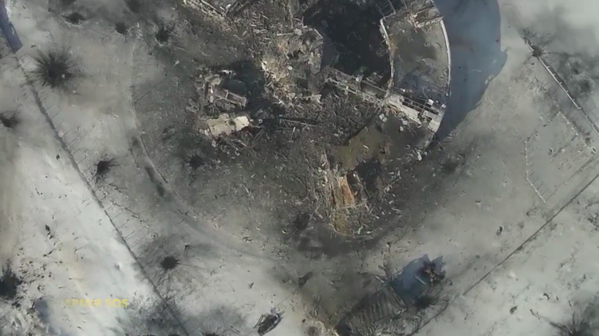 Aerial view of the Donetsk airport yesterday
