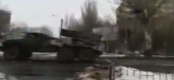 Russian BM-21 Grad convoy moves towards offensive positions in Donetsk