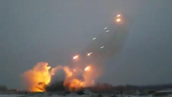 Russian MLRS GRAD shelling Ukraine