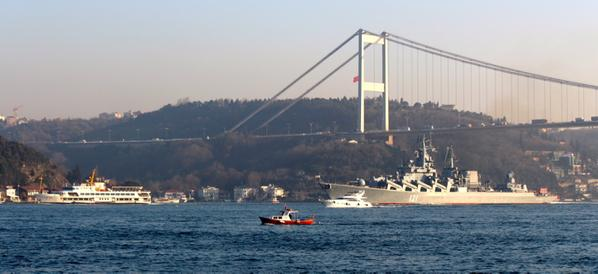 Flagship of the BSF, Project 1164 Slava class guided missile cruiser Moskva transits northbound Bosphorus