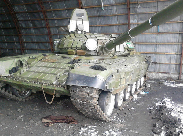 T-72B1 main battle tanks at a Russian army base in Krasnyi Luch