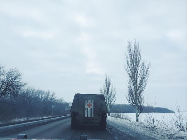 Armored ambulance on the way to Donetsk