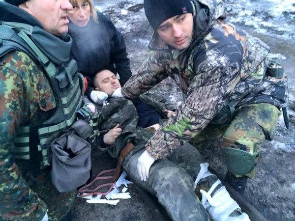 Headquarters of ATO: Cyborgs took out the wounded.