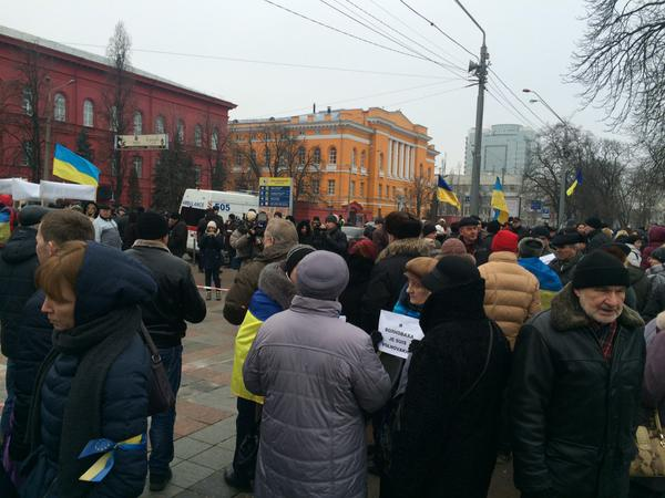 Kyiv. Peace March.People are gathering. Official persons and clergy already in place. Waiting for the President and the Prime Minister