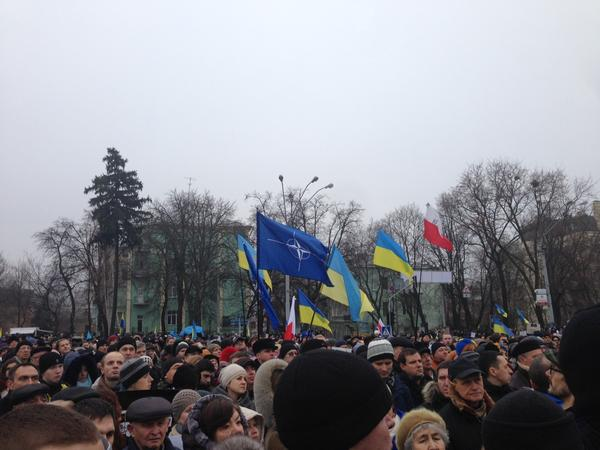 Flags of Ukraine NATO are  at the march