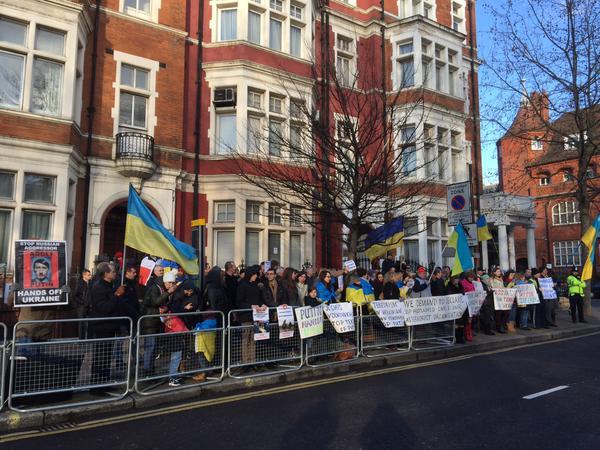 Protest against Russian terrorism at the Russian Embassy London JeSuisVolnovakha StopPutin Ukraine