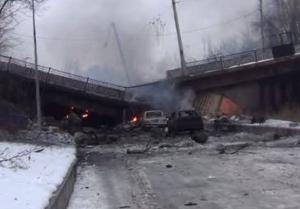 Putilov bridge in Donetsk was destroyed