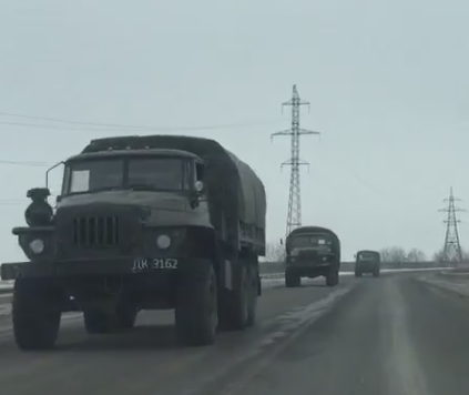 Unidentified Army convoy allegedly approaching Donetsk