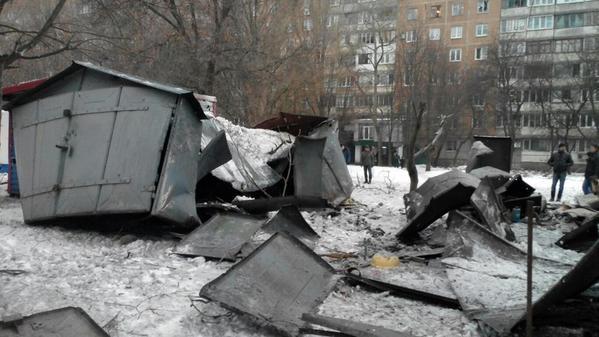 Donetsk. Shell hit garages