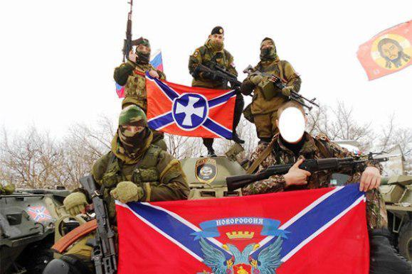 Militants unit from Serbia Serbian goosars on offense in Piski