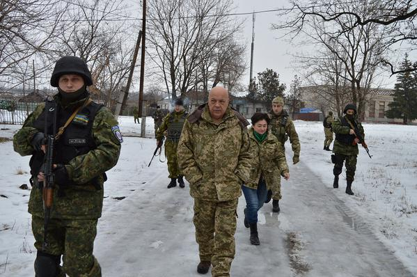 Moskal arrived in Tryohizbenka which fired by militants. The school and the Church is damaged