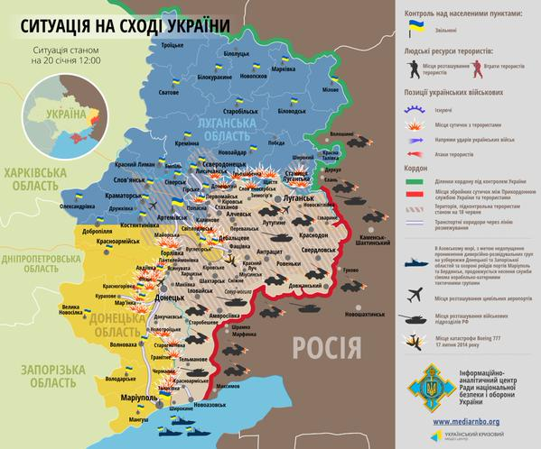 Map of the situation at the Donbass state on 20th of January 20