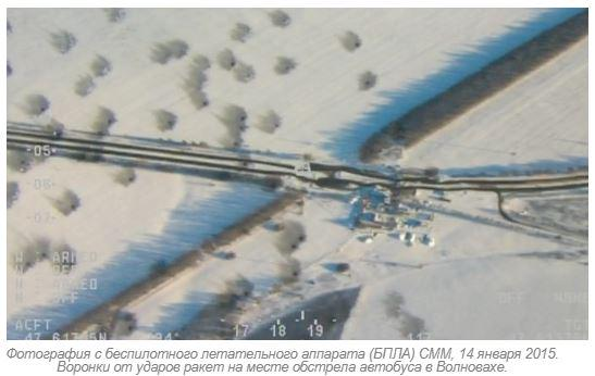 Photo by drone of OSCE: Craters from impacts of missiles in place of shelling bus in Volnovaha