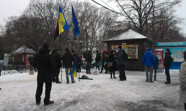 People began to gather at a rally in honor of the day of unity of Ukraine