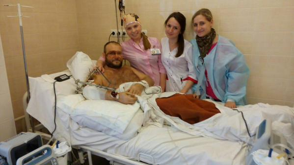 Wounded Dmitry Yarosh in a hospital ward