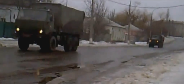 Russian army column in Luhansk city