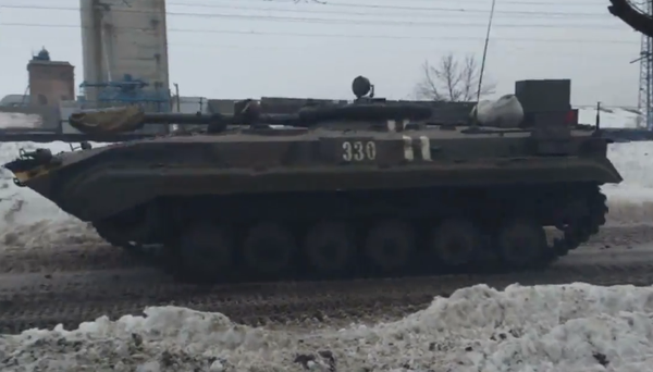Ukrainian army BMP-1KSh goes to the battle