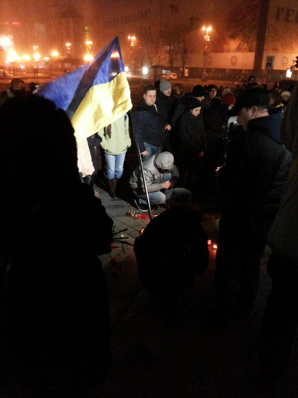 Vigil for the killed in Mariupol at Maidan in Kyiv