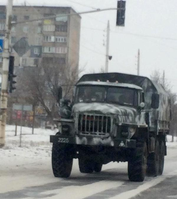 Column of military vehicles passed Bryanka. One Ural truck broke down