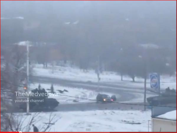 Russian column 10 tanks, 4 trucks, 1 BMP, 2 vans at Stakhanov