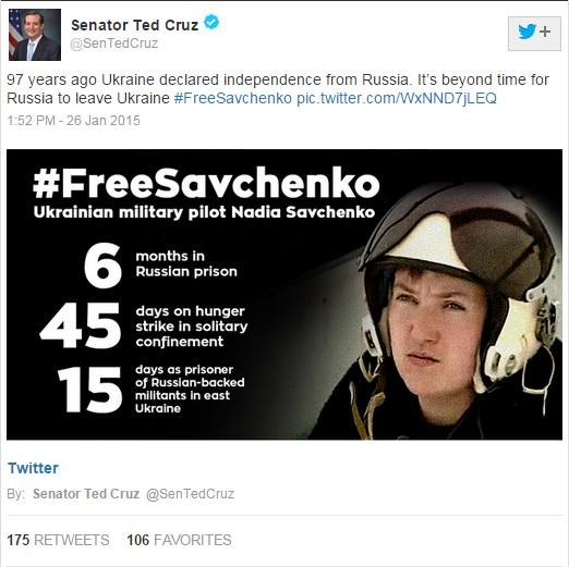 .@SenTedCruz U.S. Senator from Texas, joins Twitter Storm to FreeSavchenko