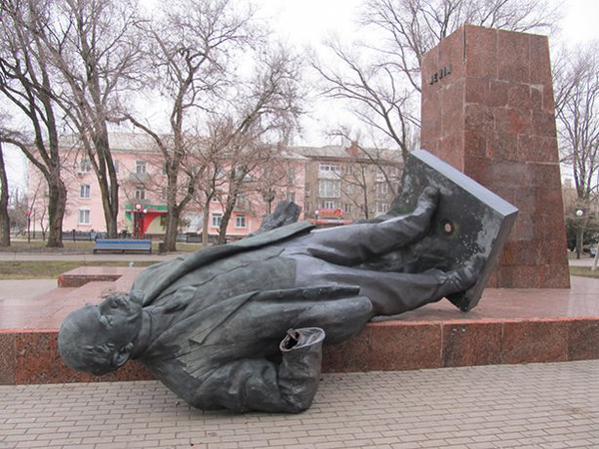 Lenin in Berdyansk was toppled