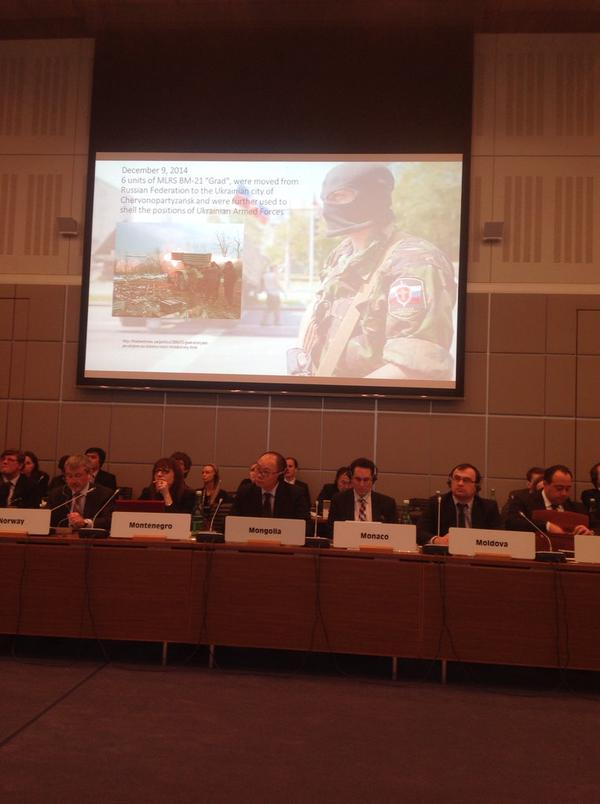 At @OSCE Ukrainian Amb presented slideshow with many many photos of Russian military equip sent to separatists.