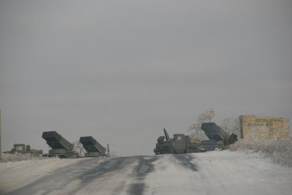 Multiple Russian MLRS in Luhansk today.