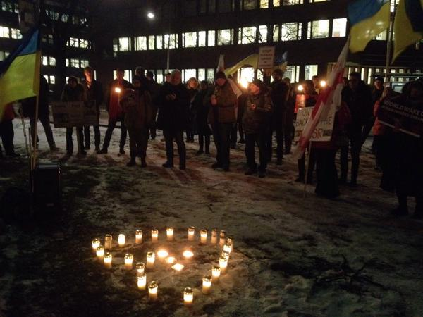 UkrainaDemo outside Russian Embassy in Stockholm