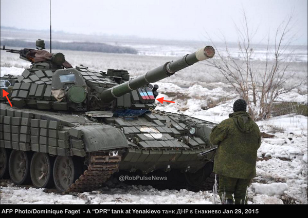 Russia|n T-72B tank & DPR fighters at Yenakievo