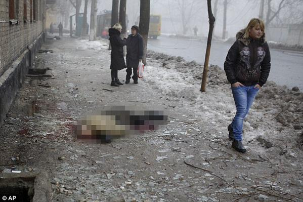 Artillery bombardment kills least 12 in Donetsk