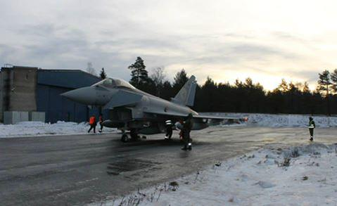 A Spanish Eurofighter Typhoon of the air patrol of the NATO watch the Baltic