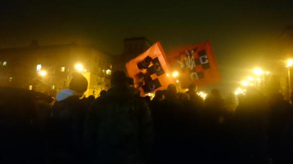 Tense situation near Lenin monument in Zaporizhie